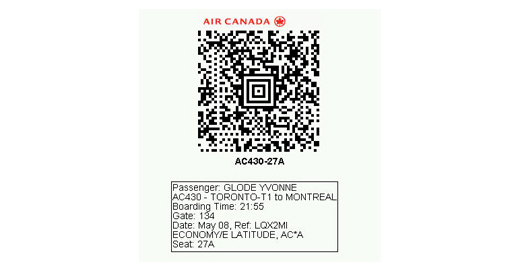 how to send aircanada boarding pass to phone